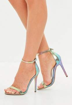 Missguided Pink Iridescent Barely There Heeled Sandals
