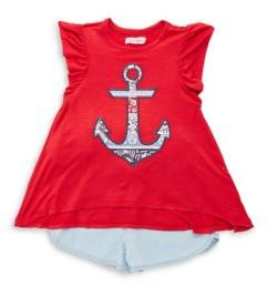 Jessica Simpson Little Girl's Two-Piece Anchor-Print Top & Shorts Set