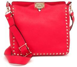 VALENTINO GARAVANI Rockstud Utilitarian Small Leather Crossbody Bag