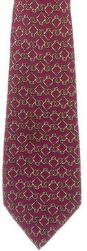 Hermes Equestrian Geometric Print Silk Tie