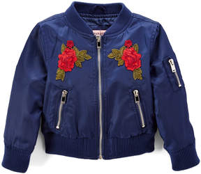 Urban Republic Oxford Blue Floral Patch Bomber Jacket - Toddler