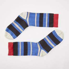 Blade + Blue Blue, Black, Grey with Red Variegated Stripe Sock