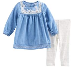 Nannette Baby Girl Embroidered Chambray Tunic & Leggings Set