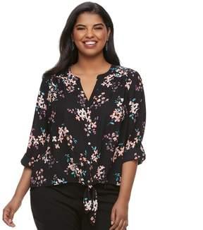 Candies Juniors' Plus Size Candie's Floral Tie-Front Crepe Shirt