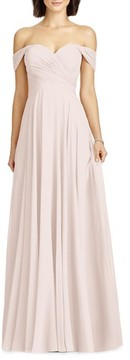 Dessy Collection Women's Lux Off The Shoulder Chiffon Gown