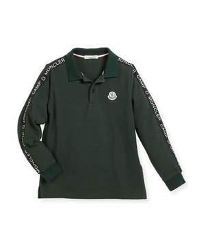 Moncler Maglia Long-Sleeve Logo Polo, Size 8-14