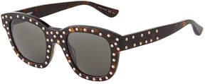 Saint Laurent Square Plastic Studded Sunglasses