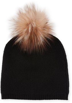 Neiman Marcus Cashmere Link-Stitch Beanie with Fox Fur Pompom