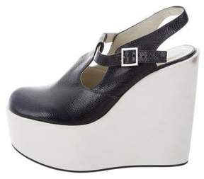 Jil Sander Navy Embossed Platform Wedges
