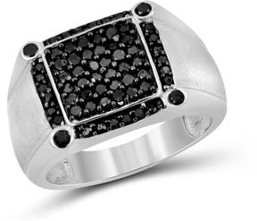 Ice Men's 1 CT TW Round Black Diamond Brushed Sterling Silver Box Ring by JewelonFire