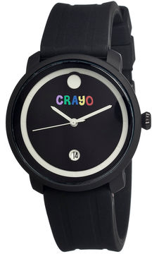 Crayo Unisex Fresh Black Rubber-Strap Watch With Date Cracr0301