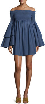 Caroline Constas Appolonia Off-the-Shoulder Layered-Bell Sleeve Mini Dress