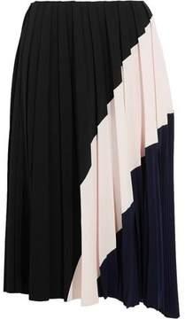 Cédric Charlier Color-Block Pleated Crepe Midi Skirt