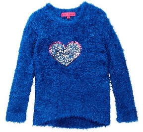 Betsey Johnson Hi-Lo Eyelash Sweater with Sequin Heart Applique (Little Girls)
