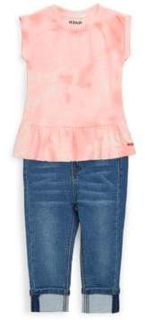 Hudson Little Girl's Two-Piece Tie-Dye Top and Jeans Set