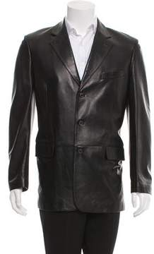 Salvatore Ferragamo Leather Three-Button Blazer