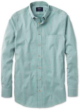 Charles Tyrwhitt Classic Fit Non-Iron Poplin Green and Navy Check Cotton Casual Shirt Single Cuff Size Small