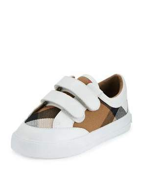 Burberry Heacham Check Canvas Sneaker, White/Tan, Toddler