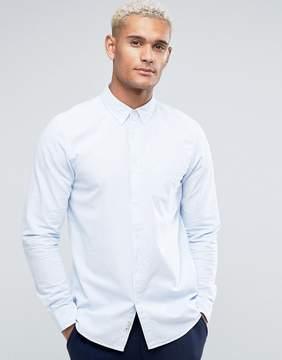 Jack Wills Wadsworth Regular Fit Oxford Shirt With Ticking Stripe In Sky Blue