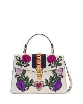 Gucci Sylvie Medium Floral Embroidered Leather Top-Handle Satchel Bag - WHITE PATTERN - STYLE