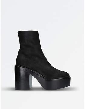 A.F.Vandevorst A F Vandevorst Ladies Black Suede Platform Ankle Boots