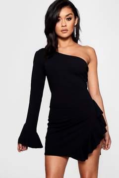 boohoo One Shoulder Ruffle Split Bodycon Dress