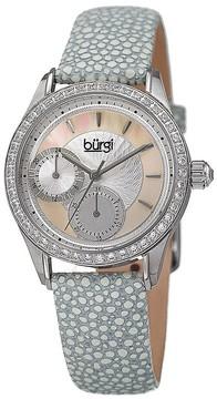Burgi Mother Of Pearl Dial Ladies Grey Polka Dot Watch