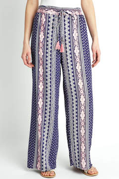 Angie Navy Pink Vertical Print Wide leg Pant