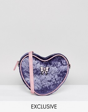 Lazy Oaf Exclusive Velvet Heart Cross Body Bag With Bow Detail