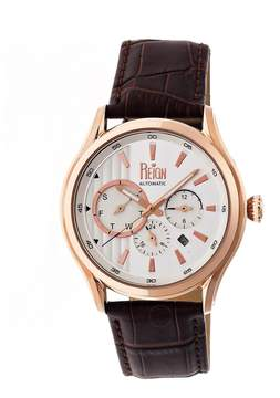 Reign Gustaf Rose Gold-tone Steel Case Brown Leather Strap Men's Watch