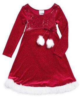 Iris & Ivy Little Girl's Faux Fur-Trimmed Sparkling Velvet Santa Dress