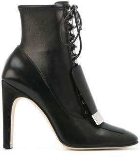 Sergio Rossi lace-up square toe boots