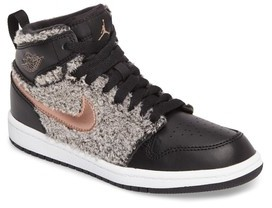 Nike Boy's Jordan 1 Retro Faux Fur High Top Sneaker