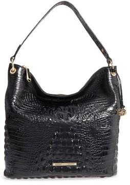 Brahmin Melbourne Sevi Croc Embossed Leather Hobo - Black