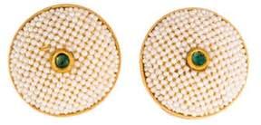 Amrapali 18K Seed Pearl & Emerald Circle Earclips