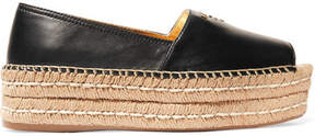 Prada Leather Platform Espadrilles - Black