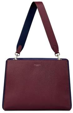 Aspinal of London Large Ella Hobo In Burgundy Pebble With Burgundy Navy Strap