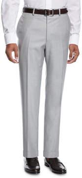 Brioni Virgin Wool Twill Trousers, Pearl Gray