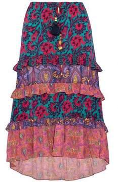 Figue Sarita Tiered Floral-Print Silk Crepe De Chine Midi Skirt