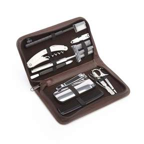 Royce Leather Royce Luxury Travel and Grooming Genuine Leather Toiletry Kit - Brown