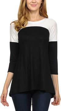 Celeste Black & White Contrast Three-Quarter-Sleeve Tunic - Women