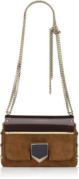 Jimmy Choo LOCKETT PETITE Cacao Suede and Red Plexi Shoulder Bag