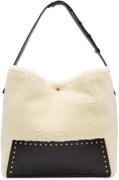 Stella McCartney White Small Shearling Hobo Bag