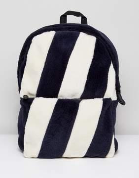 Asos Backpack In Striped Faux Fur Design