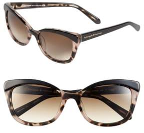 Women's Kate Spade New York 'Amaras' 55Mm Sunglasses - Black/ Blush Tort