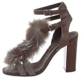 Brunello Cucinelli Fox Fur-Trimmed Monili Embellished Sandals w/ Tags