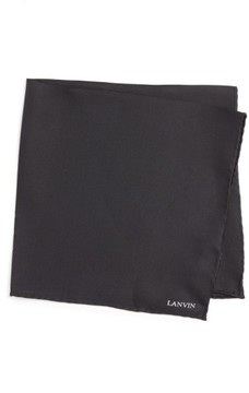 Lanvin Men's Solid Silk Pocket Square