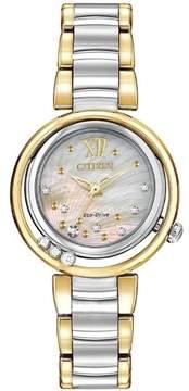 Citizen L Sunrise Two-Tone Diamond/Analog Eco-Drive Watch