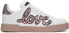 Dolce & Gabbana White and Pink Heart Patch Sneakers