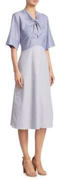 Carven Twist Front Pinstripe Midi Dress
